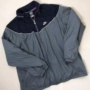 Nike mens size XXL windbreaker jacket Hooded Gray